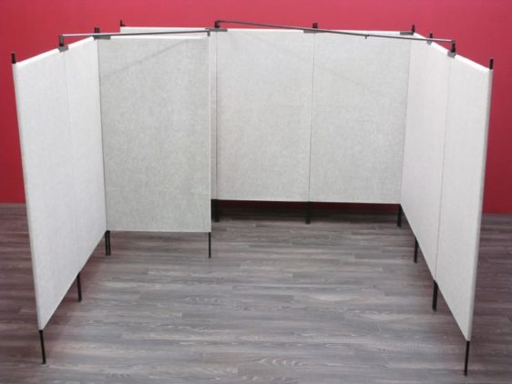 7' tall 10' x 10' booth with french door in back left corner